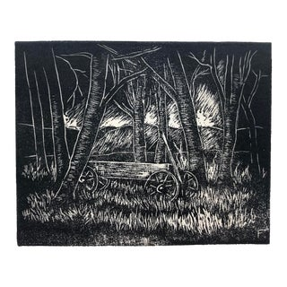Forest Scene Linocut by Roy Charles Fox 1950s For Sale