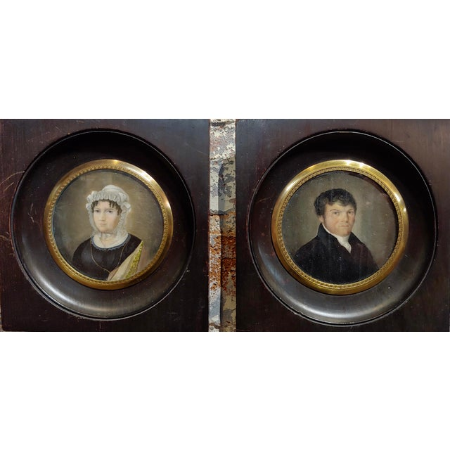 """18th century English school -Husband & Wife Portraits - Miniature Painting circa 1760s/1780s frame size 5"""" board size 3"""""""