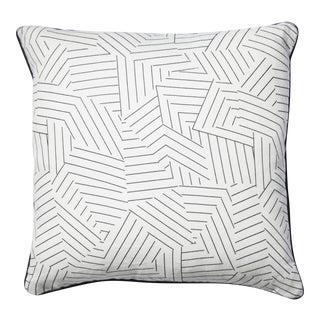 Graphic Hatch Mark Pillow with Black Linen Back For Sale