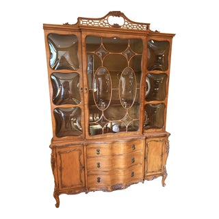 1920's Vintage Romweber French Bubbleglass China Cabinet For Sale