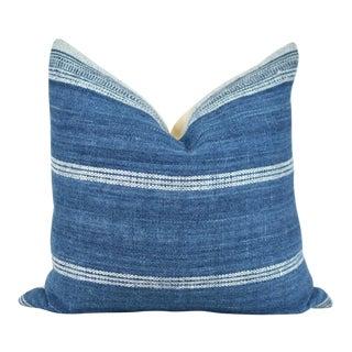 Boho Chic Indigo Wool Stripe Pillow For Sale