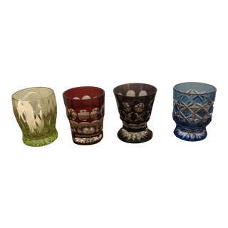 Faberge Multi-Colored Crystal Shot Glasses - Set of 4 For Sale