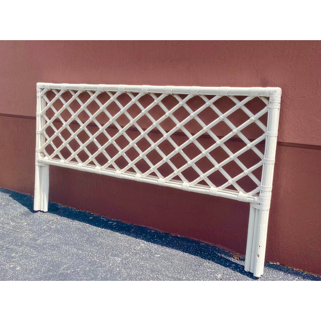 Contemporary Vintage King Size Bamboo Lattice Headboard For Sale - Image 3 of 6