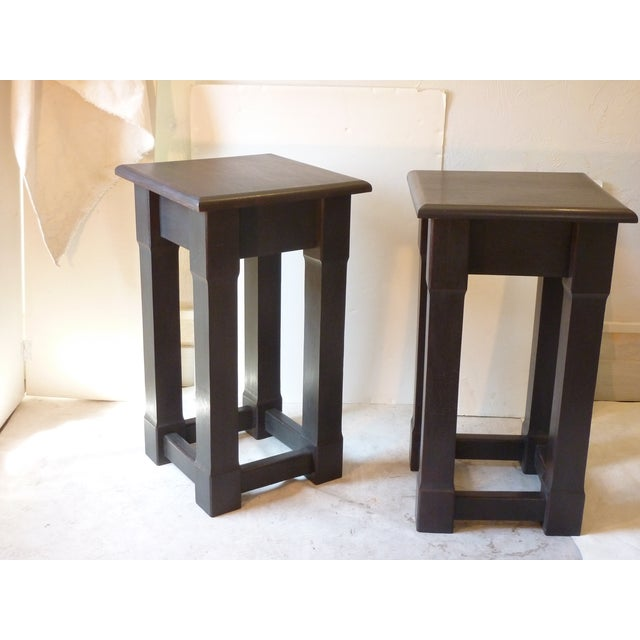 American early 20th Century pedestals with rubbed charcoal tone finish, sturdy, priced for the pair.