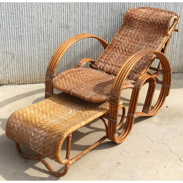 Mid-Century Modern 20th Century Adjustable Bentwood and Rattan Chaise Longue With Ottoman For Sale - Image 3 of 12
