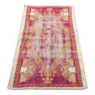 Early 20th Century Antique Anatolian Mujur Distressed Rug - 3′ × 5′ For Sale