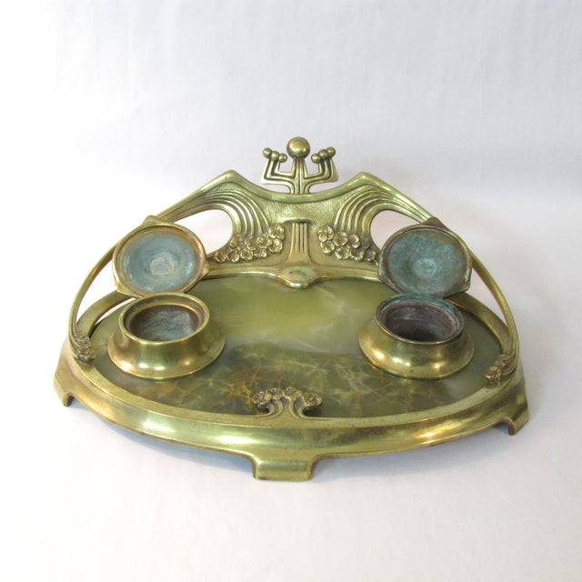 Art Deco Brass & Onyx Inkwell For Sale - Image 5 of 5