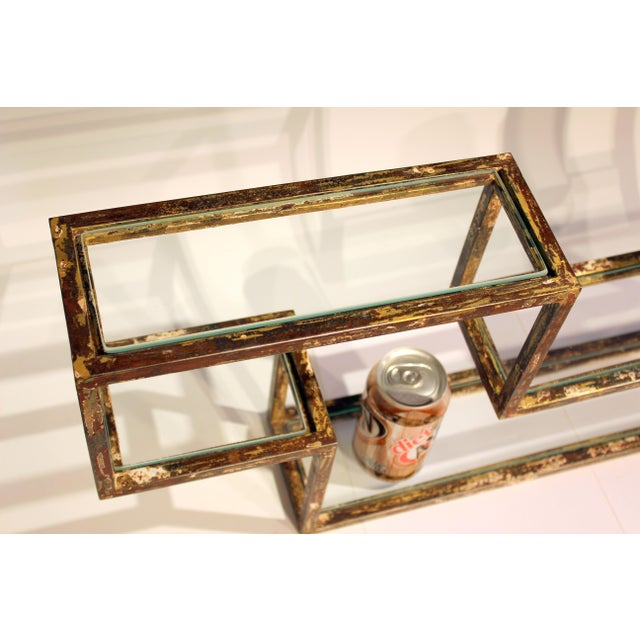 1960s Mid-Century Modern Display Shelf Glass Steel Case Tabletop Curio Gilt For Sale - Image 9 of 12