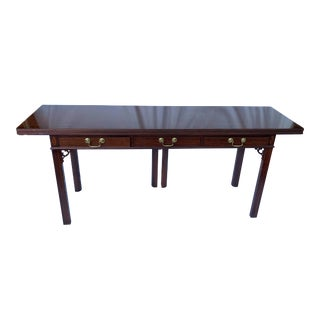 Baker Chippendale Banded Mahogany Folding Console Dining Table For Sale