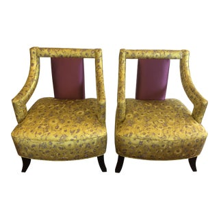 Custom Asian Upholstered Chairs - A Pair For Sale