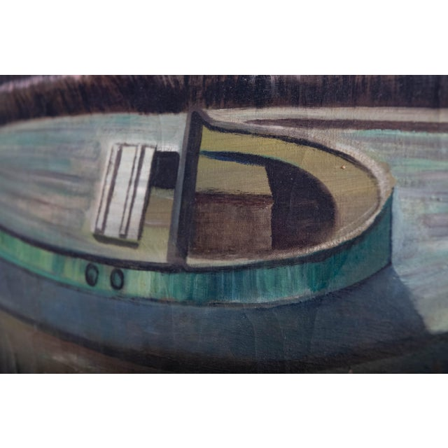 Americana 1950s Vintage Boat at Sunset Oil Painting For Sale - Image 3 of 8