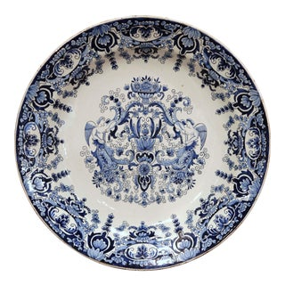 19th Century French Hand Painted Blue and White Faience Charger For Sale