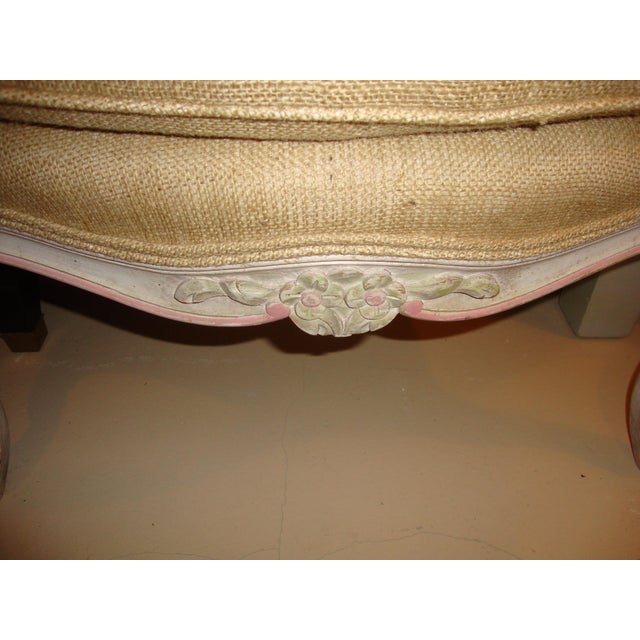 Louis XVI Style Paint Decorated Bergère Armchair For Sale - Image 4 of 9