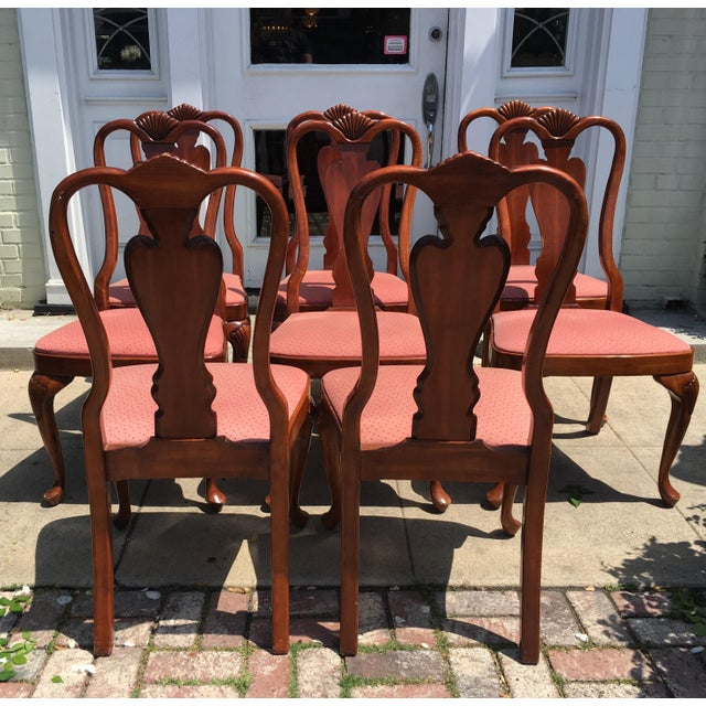 Queen Anne Style Mahogany Dining Chairs - Set of 8 - Image 5 of 7