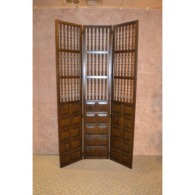Vintage Jacobean Style Wood Room Divider For Sale - Image 9 of 13