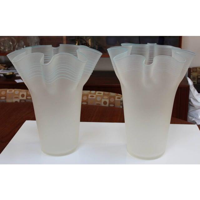 Stunning pair of large handblown frosted glass handkerchief Italian vases.