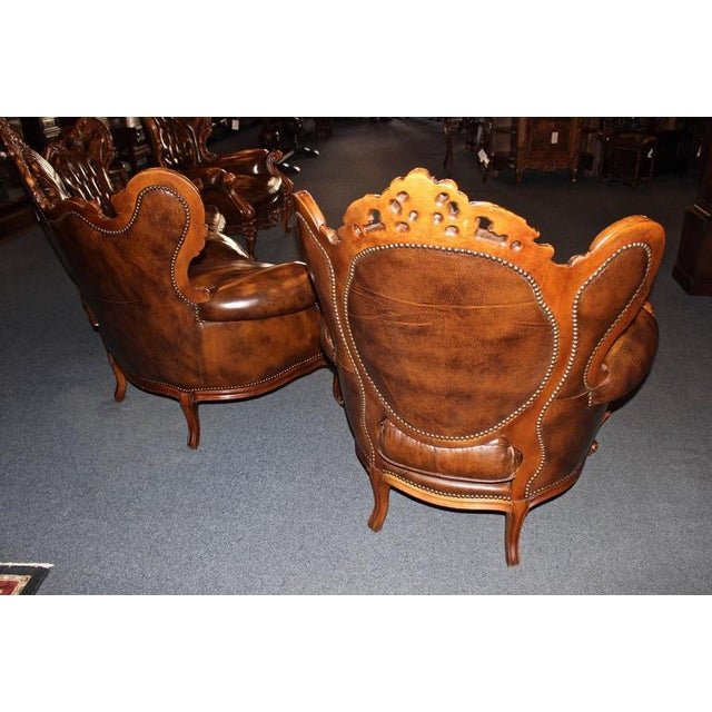 Brown Antique French Rococo Parlor Set - Set of 3 For Sale - Image 8 of 9
