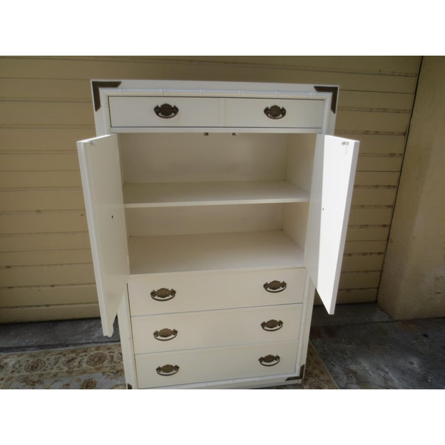 For your consideration is this lovely MCM Palm Beach Hollywood Regency tall chest or dresser in vintage condition. Chest...