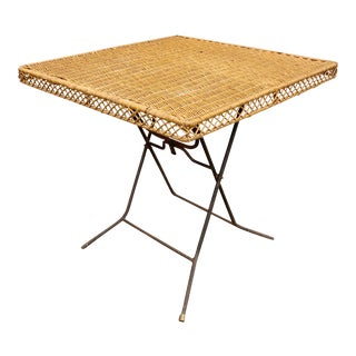 1950s Wicker Fold-Up Dining Table For Sale