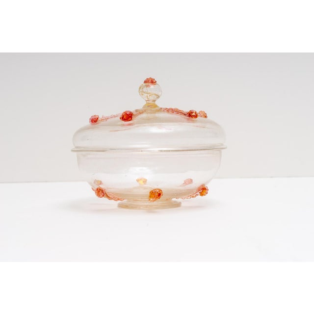 Art Deco 1930s Barovier E Toso Murano Glass Bonbonniere Candy Dish For Sale - Image 3 of 9