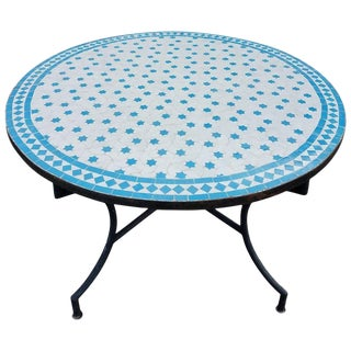 Moroccan Mosaic Table in White / Turquoise For Sale