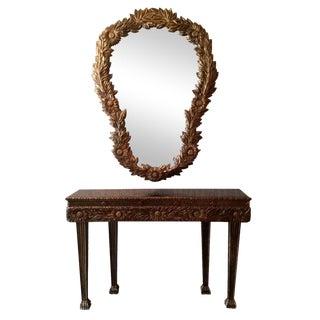 20th Century Baroque Revival Console Table Mirror