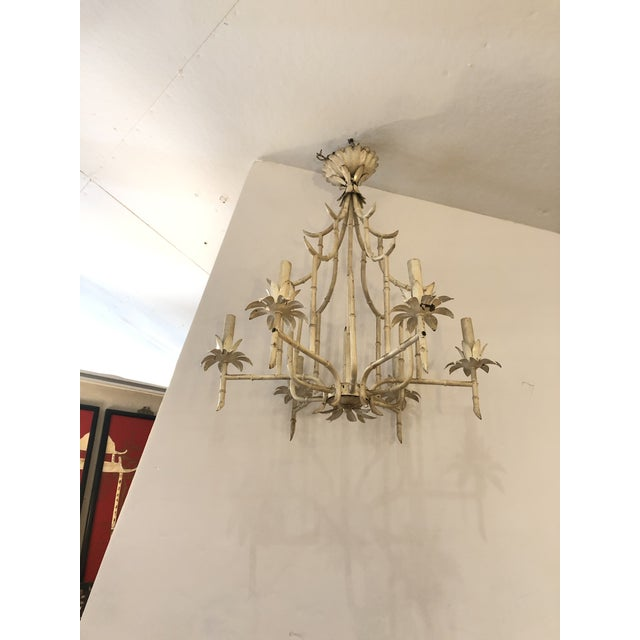 Antique White Italian Faux Bamboo Painted Iron and Tole Pagoda Style Chandelier For Sale - Image 8 of 8
