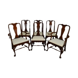 Henkel Harris Spnea Set of 6 Solid Mahogany Queen Anne Dining Chairs For Sale