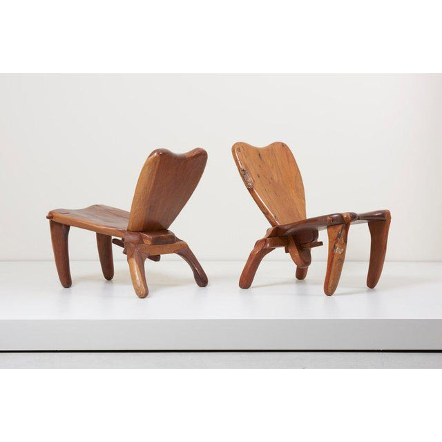 Don S. Shoemaker Pair of Craft Wooden Studio Lounge Chairs by Don Shoemaker, Mexico, 1960s For Sale - Image 4 of 13