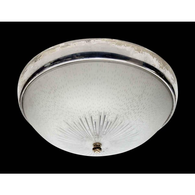 1950s 1950s Original Flush Mount Light With Nickel Trim For Sale - Image 5 of 5
