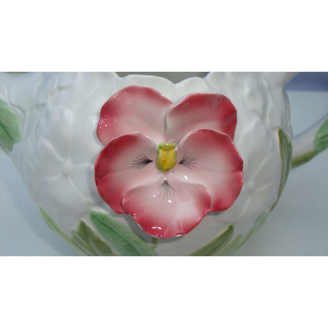 White Green & Pink Porcelain Floral Teapot - Image 7 of 11