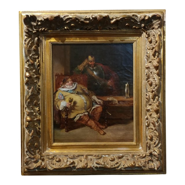 18th century Dutch Oil Painting -Interior scene of Two Nobles Drinking For Sale