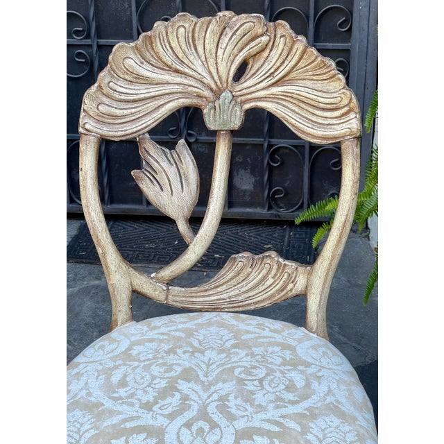 Vermillion Vintage Fortuny Upholstered Carved Italian Grotto Chairs - a Pair For Sale - Image 4 of 8