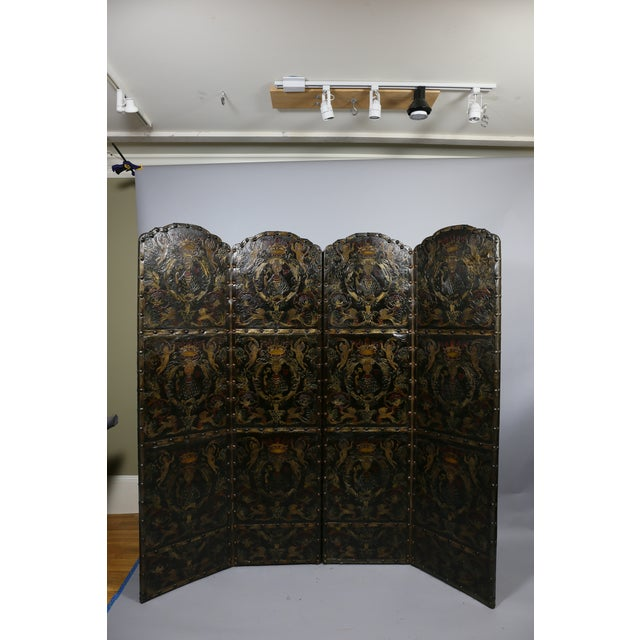 European Embossed Leather Four-Panel Screen For Sale In Boston - Image 6 of 6