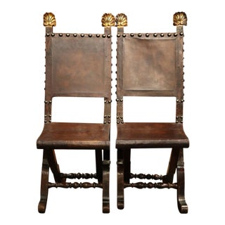 Early 19th Century Spanish Walnut & Leather Folding Chairs - A Pair For Sale