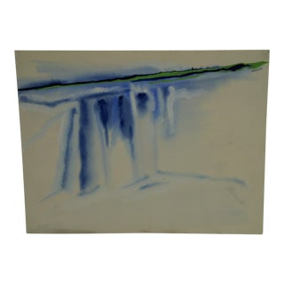 """1972 Original """"Shore-Line"""" Painting on Paper by Damon"""