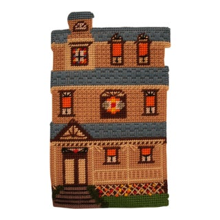 1970's House Needlepoint For Sale