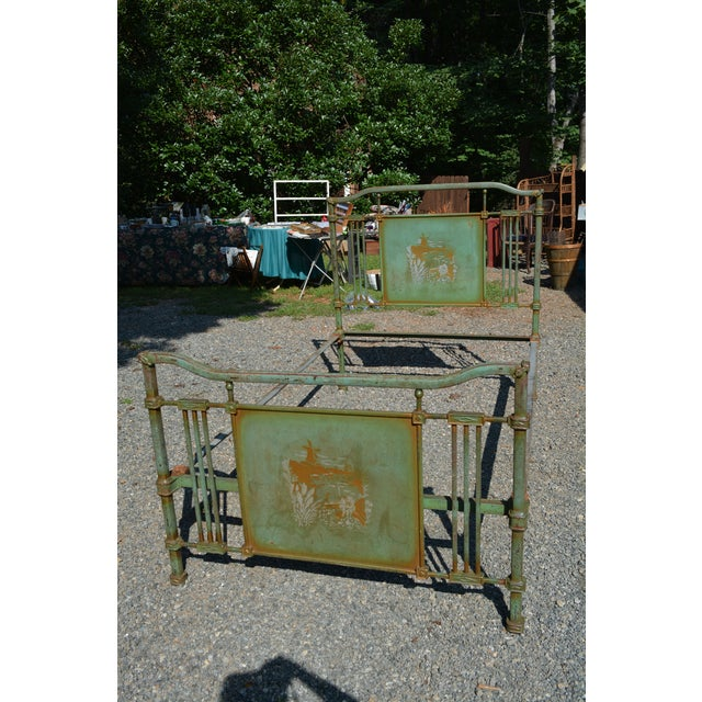 1800's Antique European Cast Iron Steel Green Shabby Chic Scenic 3/4 Bed Frame For Sale - Image 13 of 13