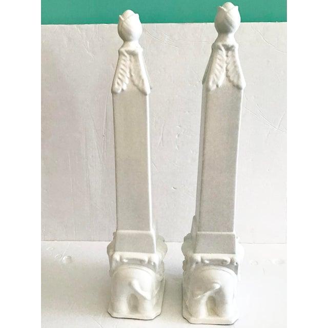 White Ceramic Asian Elephants Obelisks - a Pair For Sale - Image 4 of 6