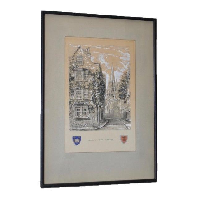 "Oriel Street, Oxford Original Illustration ""Dominus Illuminatio mea"" c.1953 For Sale"