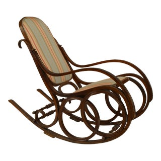 Thonet Style Bentwood Striped Rocking Chair For Sale