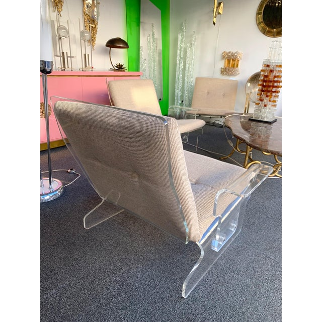Tan Pair of Lucite Armchairs by Baumann, Germany, 1970s For Sale - Image 8 of 13