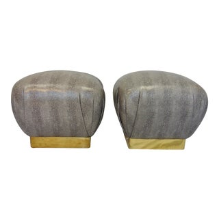 Mid-Century Modern Karl Springer Style Faux Snakeskin Soufflé Poufs- a Pair For Sale