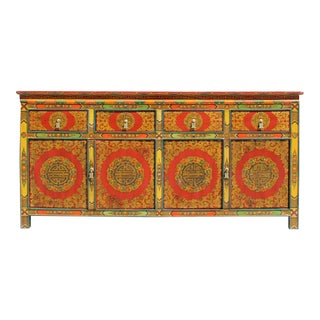 Chinese Tibetan Color Flower Graphic Credenza Sideboard Console Cabinet For Sale