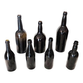 Fantastic Early 19thc Collection of Olive Green Bitters Bottles For Sale