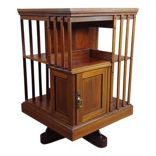 Antique Edwardian Mahogany & Satin Wood Revolving Bookshelf -C1900s For Sale