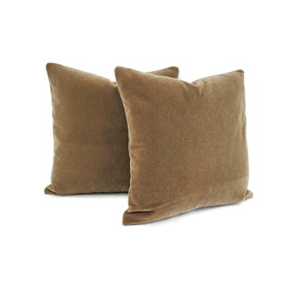 "Maharam Mohair Supreme in Stonehenge Pillow Cover - 20"" X 20"" Solid Brown Mohair Velvet Cushion Cover Preview"