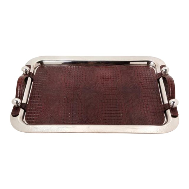 An Argentine Silver-Plate and Leather Serving Tray, Plata Lappas, Buenos Aires, 20th Century, the Tray With a Spot-Hammered Finish. For Sale
