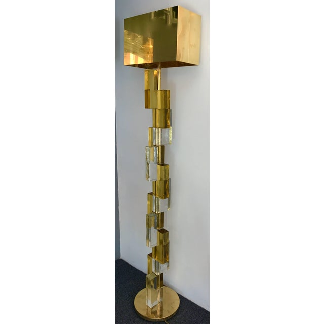 Huge pair of cubic floor lamps in contemporary Murano pressed glass. Very quality glass block construction. Nice mix of...