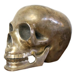 Vintage Life Size Metal Human Skull For Sale